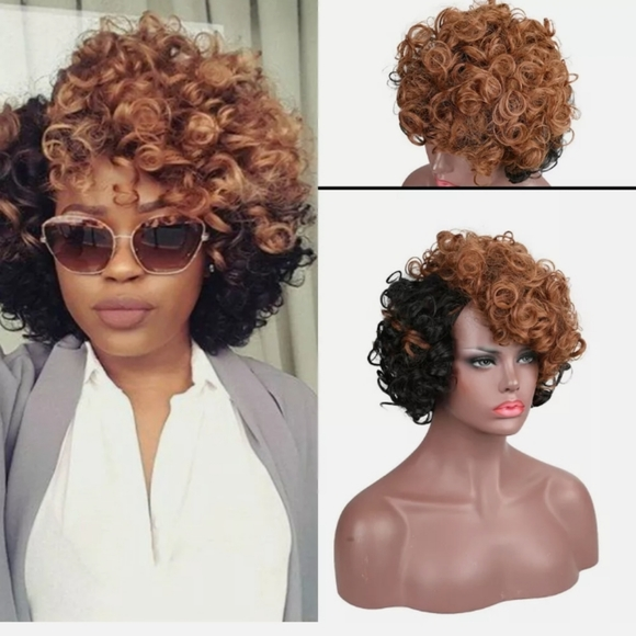 Brown and black curly wigs
